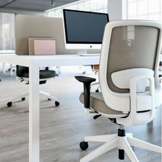 Trim Chair - sitting pretty in neutral - Prisma Workstation - standing strong in crisp white #actiu #coolworking #office #officelovin…