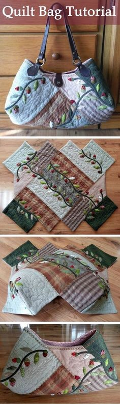 Lovely quilt bag Quilt bag, dress with applique flower another view Quilt bag! Quilt Tutorials, Sewing Tutorials, Sewing Crafts, Sewing Projects, Sewing Ideas, Free Tutorials, Hobo Bag Tutorials, Diy Crafts, Crochet Crafts