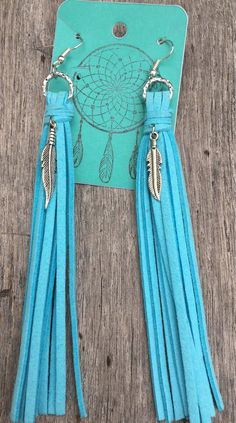 Long fringe blue earrings