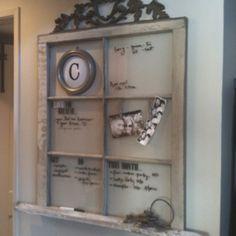 Old window dry erase message center