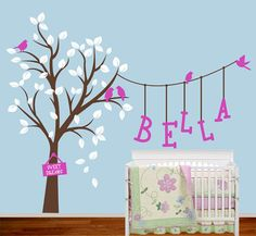 Children Wall Decal  Large Tree with Birds and by AirlieCreations, $110.00