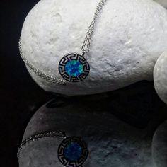 Blue opal silver meander bracelet greek key by ThetisTreasures