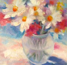 Still Life Floral White Daisies Spring Unframed by TinaWasselKeck