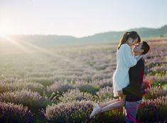 Edwin and Claire's Golden Hour Engagement Shoot in Provence #lavender #fields {Facebook and Instagram: The Wedding Scoop}