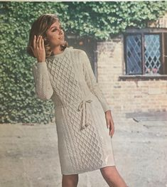 Excited to share the latest addition to my #etsy shop: 1960s Vintage Aran Dress Knitting Pattern Knitting Yarn, Knitting Patterns, Vintage Knitting, Double Knitting, Vintage Patterns, Knit Dress, 1960s, Sweaters, Clothes