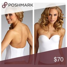 Felina Essentials Seamless Bustier Bra 7643 Style #7643 Supportive, backless strapless underwire bustier Graduated padding for natural looking enhancement Foam padding on front for a smooth, seamless look Supportive boning on sides and back 4 column, 10 row hook and eye back closure Center front is approx 12'' tall Center back is approx 7'' tall Seamless microfiber Content:  Body: 87% Nylon, 13% Spandex. NWT, but tried on. Some sparkles on the bustier from trying on with the wedding dress…