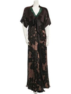 Brown Etro silk maxi dress with V-neck, short sleeves, bead embellishments at neckline, ruffles at front, floral print throughout and concealed zip closure at side.