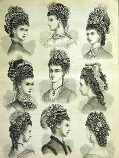 Fashionable Victorian hair styles and hats, 1880s