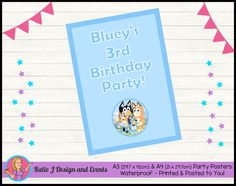 Personalised ABC Kids BLUEY Birthday Party Decorations & Supplies – Katie J Design and Events First Birthday Parties, Birthday Party Decorations, 3rd Birthday, First Birthdays, Party Themes, Cheap Party Supplies, Online Party Supplies, A4 Poster, Drink Labels