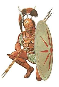 """Samnite warrior, c.350BCE, with triple breast-plate, bronze belt, symbol of Samnite manhood and warrior status, greaves and modified Attic-type helmet. His weapons consist of javelins, long shield and falcata. Art by Jeff Burn for John Warry's """"Warfare in the Classical World"""" Ancient Rome, Ancient Greece, Ancient Art, Ancient History, Punic Wars, Roman Era, Medieval Armor, Iron Age, Dark Ages"""