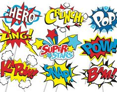 Superhero Action Party Photo Booth Props or by TheQuirkyQuail