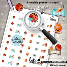 Basketball Stickers Printable Planner Stickers by LetsPaperUp