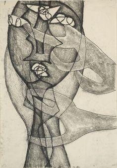 """Maria Jarema (1908 Stary Sambór - 1958) Kompozycja - z cyklu """"Głowy"""", 1955 r. monotypia/papier 42 x 29,5 cm"""