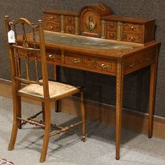 English satinwood writing desk and chair in the Adam's : Lot 6065