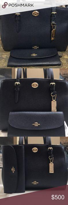 53e83c4e1a48 Coach Handbag with matching wallet set. Brand New Navy Blue Coach handbag  and wallet.