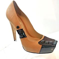 7464bf7201af64 L.A.M.B. Brown Black Leather Suede Platform Heel Pumps Size 7B Buttons EU  41  LAMB