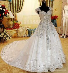Wholesale Luxury Crystal Wedding Dress Off Shoulder Beaded Applique Cathedral Train Ball Gown Wedding Gowns, Free shipping, $1346.15-1395.2/Piece | DHgate