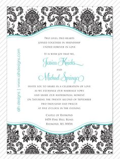Vintage Black and Tiffany Blue Damask Wedding Invitation by ALH Designs