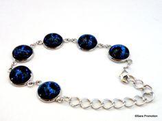 JuniBlau Armband Cabochons Crack Glitzer Blau von Sara´s Charms auf DaWanda.com