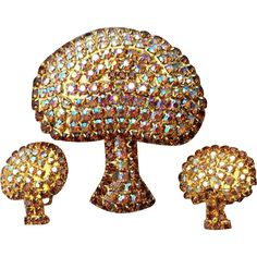 1960s Rhinestone Parure Mushrooms Brooch matching Earrings, in minty condition.  Mint, unworn condition. Brooch 2 inches x 2-3/8 inches, Earrings 1 x