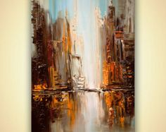 modern New York City painting palette knife city di OsnatFineArt