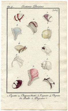 An 9 Costume Parisien #250  1. Capotes. 2 Chapeau Natté. 3 Toquets. 4 Chapeau de Paille. 5 Paysane