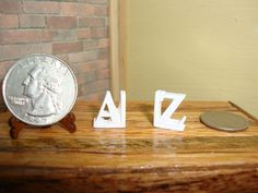 Dollhouse Miniature 1:12 Toys & Games Bookends A Z White Resin #J3-7 #Houseworks