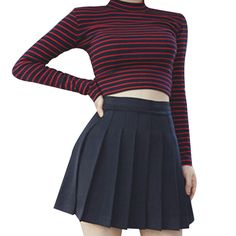 Stripes Were Thin Short Paragraph Exposed Umbilical Slim Half-high Collar Long Sleeve T Shirt Shirt Female T-Shirt Crop Top