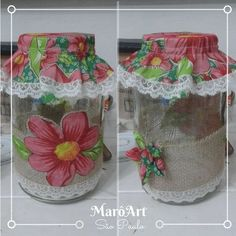 potes de vidro decorados com juta chita e fita - MarôArt Decoupage Jars, Paper Snowflakes, Altered Bottles, Bottle Painting, Homemade Gifts, Glass Bottles, Origami, Mason Jars, Diy And Crafts