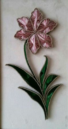 Diy Home Crafts, Decor Crafts, Nail String Art, String Art Patterns, Wire Art, Flower Crafts, Beaded Flowers, Quilling, Hand Embroidery
