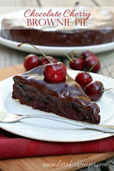 Chocolate Cherry Brownie Pie on MyRecipeMagic.com