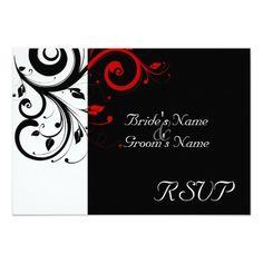 Sm Black  White Red Swirl Wedding Matching RSVP Personalized Invites