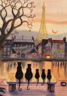 24 Ideas for cats black art gatos Art And Illustration, Illustrations, Illustration Pictures, Paris Kunst, Paris Cat, Paris Tower, Frida Art, Black Cat Art, Black Cats