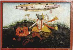 varaha battles hiranyaksha in ||| miniature ||| sotheby's n09665lot9bnbven