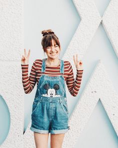 Overalls Mickey Mouse print on denim overall shorts, striped tee and denim overalls look, Cute Disney Outfits, Disney World Outfits, Disneyland Outfits, Cute Outfits, Cute Overall Outfits, Disney Inspired Outfits, Emo Outfits, Simple Outfits, Hipster Fashion