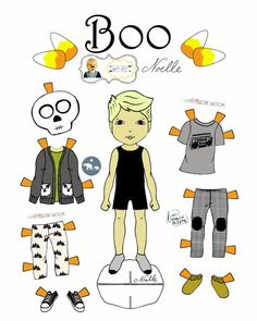 """Opposite of Far, Story Book, collaboration, """"Boo!"""" Paper-Doll set, printable paper dolls, Halloween, Skeleton and Bat"""