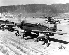 North American Mustang fighters of No. 2 Squadron of the South African Air Force in Korea, on 1 May Airplane Fighter, Fighter Aircraft, Air Fighter, Fighter Jets, Time In Korea, South African Air Force, World Conflicts, Korean Air, P51 Mustang