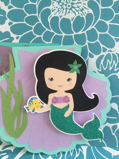 Reserved Listing 25 Pearlized Mermaid by PaperDivaInvitations Little Mermaid Invitations, The Little Mermaid, Black Hair, Minnie Mouse, Snow White, Disney Characters, Fictional Characters, Disney Princess, Handmade Gifts