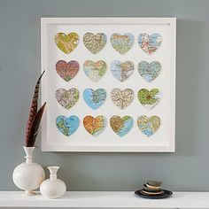 Places We've Been Together - Bespoke Multi Heart Map Art (custom made)... would be pretty easy to DIY if you can get a hold of your own pretty maps.. but can buy online here. <3