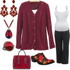 """Maroon and Black, Plus size"" by intcon on Polyvore"