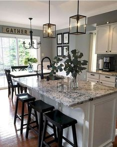 Pendants, black hardware, prefer lighter counters, like wall color against white kitchen Best Modern Kitchen Lighting Ideas and Tips White Kitchen Cabinets, Kitchen Cabinet Design, Kitchen Shelves, Kitchen Backsplash, Kitchen Countertops, Backsplash Ideas, Cement Countertops, Granite Bathroom, Kitchen Sinks