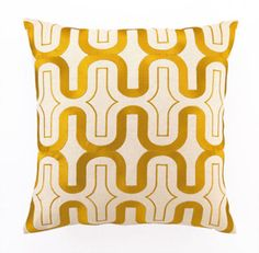 Honeycomb Embroidered Pillow in Marigold