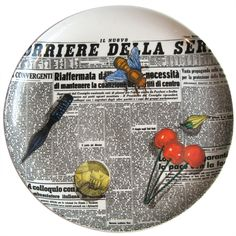 Trompe l'oeil ceramic plate by Piero Fornasetti | From a unique collection of antique and modern serving pieces at http://www.1stdibs.com/furniture/dining-entertaining/serving-pieces/