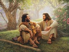 """The Way of Joy by Greg Olsen. """"The Way of Joy"""" by Greg Olsen depicts John the Baptist and Jesus as true friends. Lds Art, Bible Art, Greg Olsen Art, Arte Lds, Munier, Pictures Of Christ, Bible Pictures, Sunday Pictures, Scripture Images"""