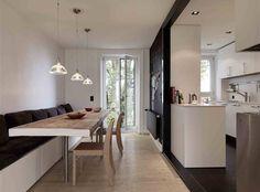 space saver banquette. pendants. Boffi kitchen. magnetic board.