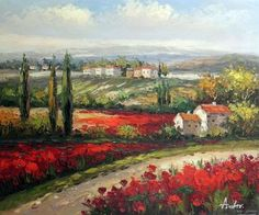 Italian Tuscany Village Poppy Flower 20x24 Oil Painting Stretched Free Shipping | eBay $77.77