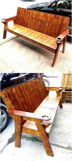 repurposed wood pallet bench