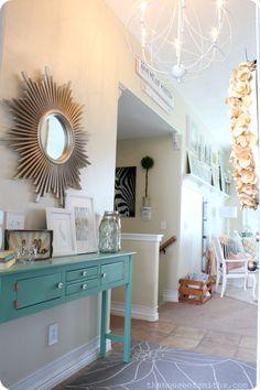 Entryway Table Decor.  Neutral, lovely entry
