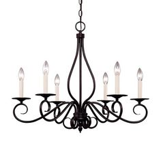 Savoy House KP-103-6-13 San Marcos/Bryce/Diablo/Oxford 6 Light Chandelier, English Bronze $192  Add hurricianes or shades...