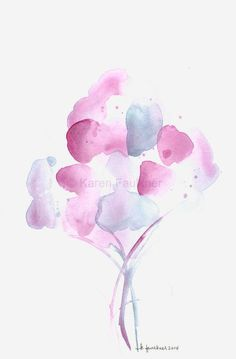 Original Watercolor Painting of Abstract Flowers: Misty Bouquet